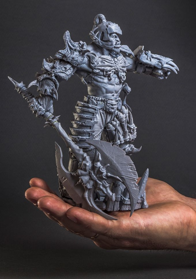 This is an actual 3D print model of the Orc Warlord. Printed at 50 micron. Every bit of surface is packed with fine detail.