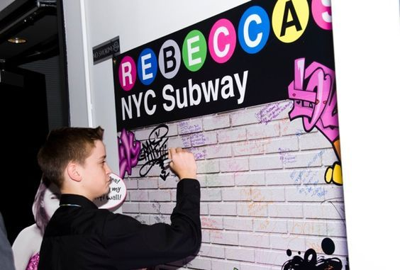 NYC Party Theme Sign-in Board, New York Subway Graffiti Wall {Bat Mitzvah Planner: Perfect Party Orlando, Jennifer Werneth Photography} - mazelmoments.com