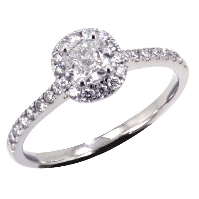 #2318 - 18ct White Gold Cushion Cut and Round Brilliant Cut Diamonds set Cut Claw Engagement Ring - What size centre stone would you like??