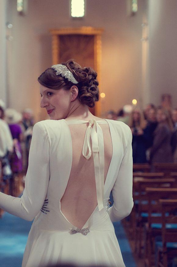 A Stunning Full Sleeved Original Vintage Wedding Dress For 1940s Wartime Inspired Bride