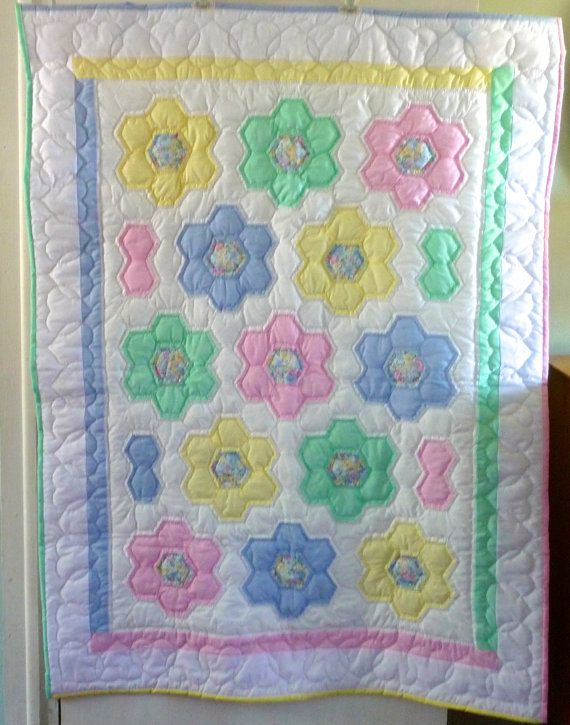 Amish Baby Quilt Flower Garden by QuiltsByAmishSpirit on Etsy, $250.00