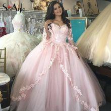 Soayle baljurk lace tulle roze jurken vestidos de festa robe de soiree vestido longo tieners grote jurken(China (Mainland))