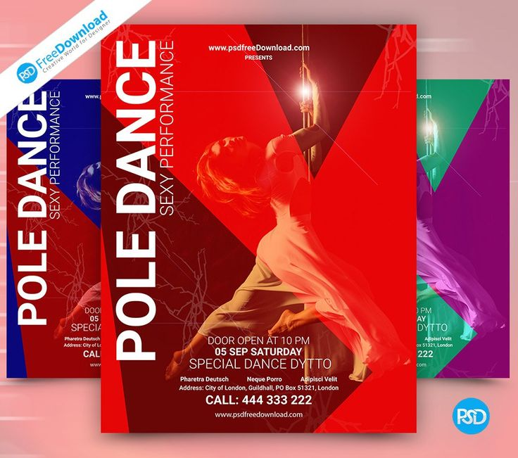Pole Dance Flyer PSD Template PSD Free Download. Layered PSD file you can easily change texts, content, images, objects and color. We would like to present to your attention our new Pole Dance Flyer PSD Template. You can use all of our editable Flyer PSD Template. Pole Dance Flyer PSD Template is very special for you, because Psd Free Download's giving you 3 variation PSD. #Pole #Dance #DanceShow #Event #Dancing #Flyer #Party #EventFlyer #Beauty #FlyerMockups #Dancer #Disco #Party