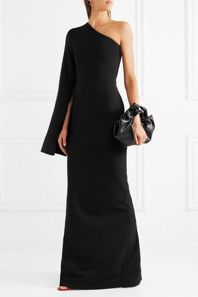 Solace London - Ysabel One-shoulder Crepe Gown - Black