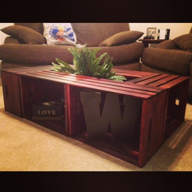 Homemade coffee table made with wooden crates add legs to for Coffee table made out of wooden crates