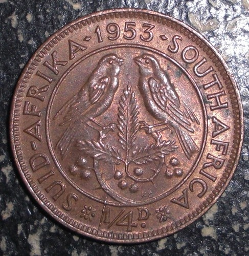 1953 South Africa 1 4 Penny Farthing Birds Animal Coin | eBay