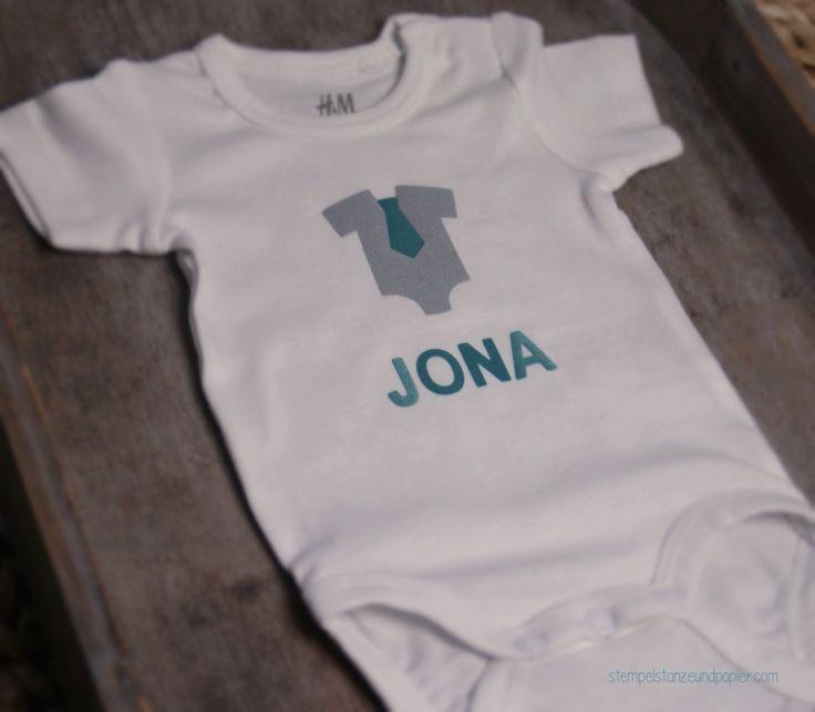 Baby Body als Geschenk zur Geburt Motive ausgestanzt mit Stampin' Up! Framelits Alles für's Baby und Thinlits Beeindruckende Buchstaben
