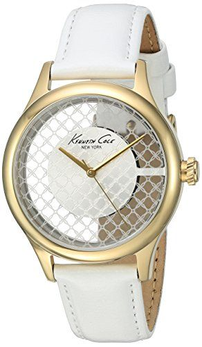 Kenneth Cole New York Womens Transparency Quartz Stainless Steel and White Leather Dress Watch Model 10026008 ** For more information, visit image link.