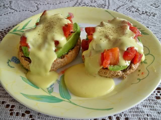 Veggies Benedict (original recipe from Mary McDougall at drmcdougall.com). We had these on the last morning of the McDougall 10-Day Live In Program and they were delicious! We enjoy them at home now as a special weekend breakfast treat.