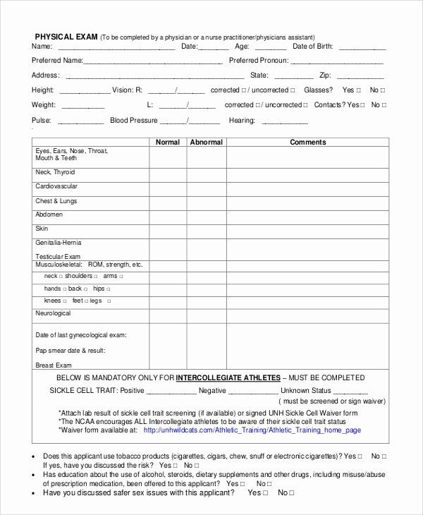 Physical Exam Form Template Inspirational 8 Sample Physical