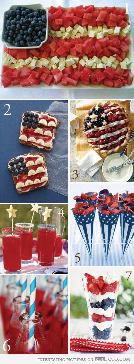 4th of July snacks - Snack ideas and food art for preparing the 4th of July party.