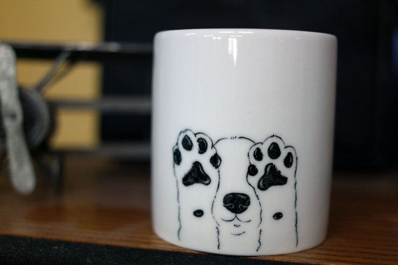 Hand painted animal mug   Cute mug cup  dog by CreativeStoneCera