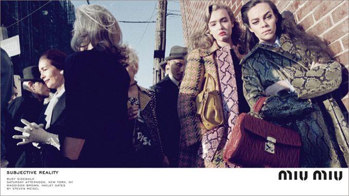 Miu Miu осень-зима 2015-2016, лицами марки стали Хейли Гейтс (Hailey Gates), Миа Гот (Mia Goth), Мэддисон Браун (Maddison Brown), Стэйси Мартин (Stacy Martin), фотографировал в Нью Йорке известный мастер Стивен Мейзел (Steven Meisel).