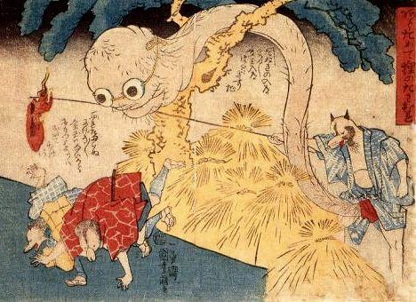 Rokurokubi (long-necked monster) disguise, pranking friends