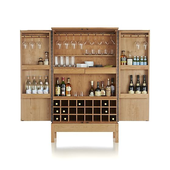 Victuals Cherry Bar Cabinet in Bar Cabinets & Bar Carts | Crate and Barrel