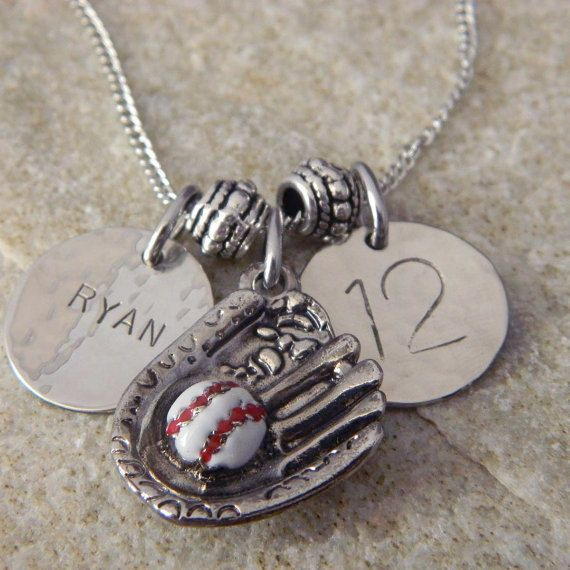 Personalized Name and Numer Baseball Necklace by WireNWhimsy. , via Etsy.