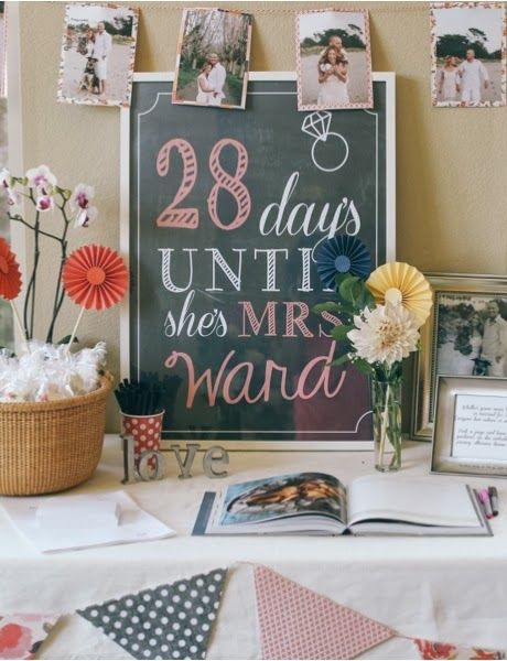 Cute sign for Bridal Shower - Days until Sign, Bridal Shower Sign, Countdown chalkboard sign, By Lanelove Design
