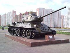 Т-34 — Т-34-85 образца 1944 года на постаменте в Курске
