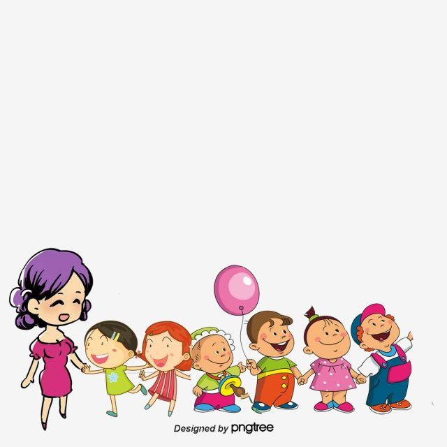 المعلم يمسك الطفل المبدع نزهة قصاصات فنية من الأطفال مدرس كرتون Png وملف Psd للتحميل مجانا Creative Children Design