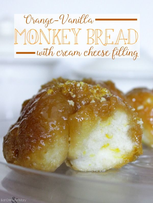 Ooey Gooey Orange-y Goodness >> Orange-Vanilla, Cream Cheese filled Monkey Bread || #monkey #bread #orange #citrus #cream #cheese #creamcheese #gorilla #twist #breakfast
