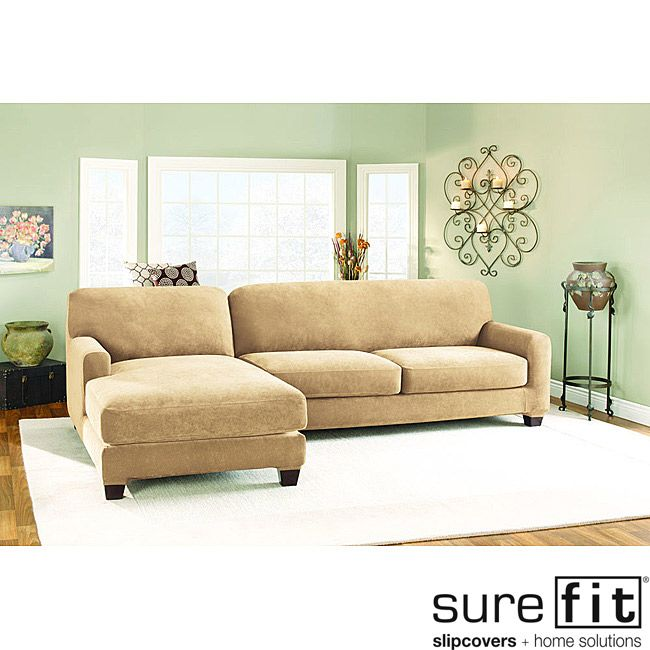 sure fit pique cream sectional with left hand chase