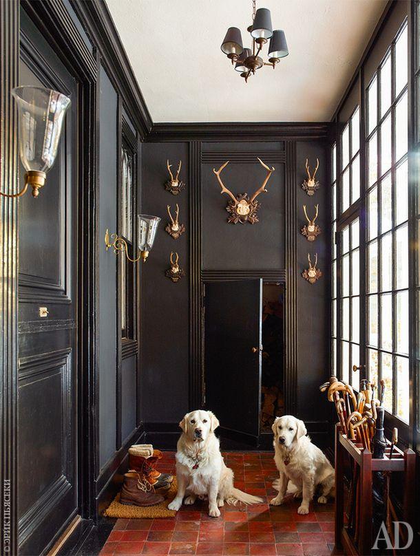 Собаки хозяина (золотистые ретриверы Борис иНаташа) в прихожей, украшенной оленьими рогами из Южной Германии.