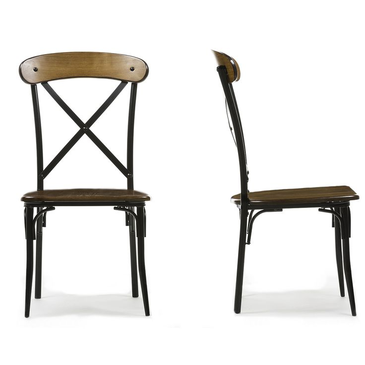 Set of 2 Broxburn Wood and Metal Dining Chair - Overstock™ Shopping - Great Deals on Baxton Studio Dining Chairs