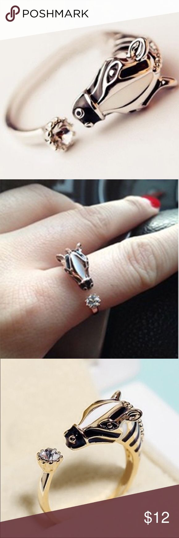 Silver plated open horse ring NWT boutique brand Jewelry Rings