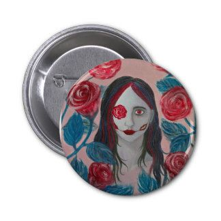 """""""Roses I"""" pinback button by Sarah Y. Varnam #art #portrait #zazzle"""