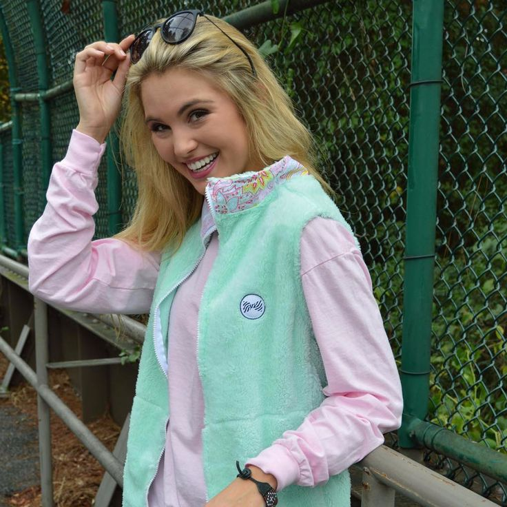 Fleece Vest in Mint Julep by the Fraternity Collection #$50-to-$100