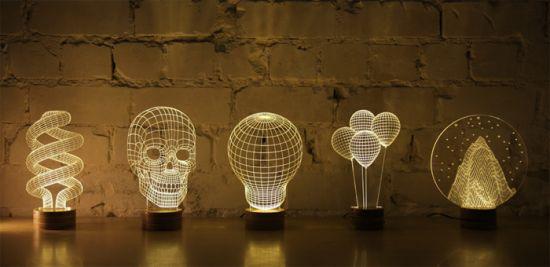 Настольные лампы с оптической иллюзией объема
