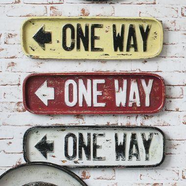 One Way Metal Wall Plaque, Set of 3 - £39 | brandinteriors.co.uk