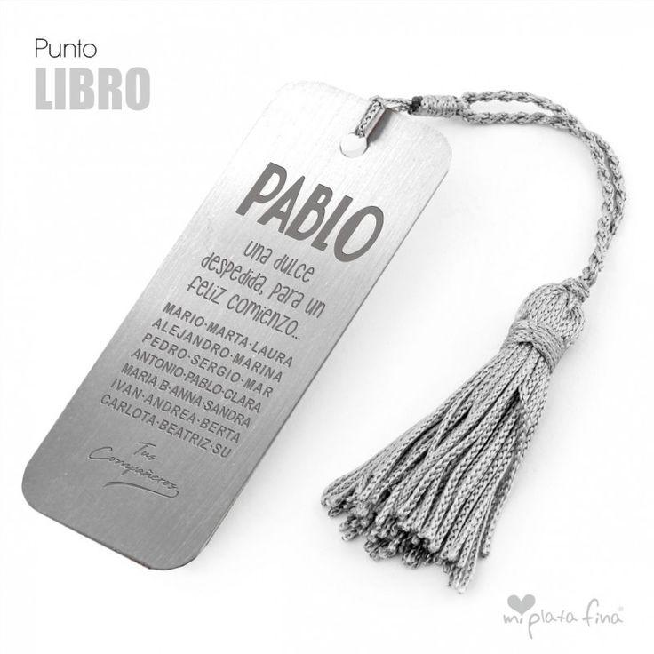 PUNTO DE LIBRO en plata de ley con borla de seda gris. Especial grabado jubilación, con todos los nombres de compañeros. #joyasqueblandeti #miplatafina