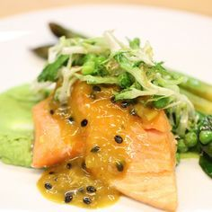 A recipe by Holger Stromberg  The chef of the German national football team, Holger Stromberg, shares the team's favourite Brazil World Cup 2014 dish, entitled 'Bahia and passion fruit salmon, peas and spinach & couscous' | FOUR Magazine