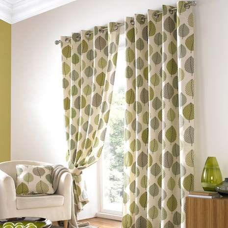 Green Regan Lined Eyelet Curtains   Front Room