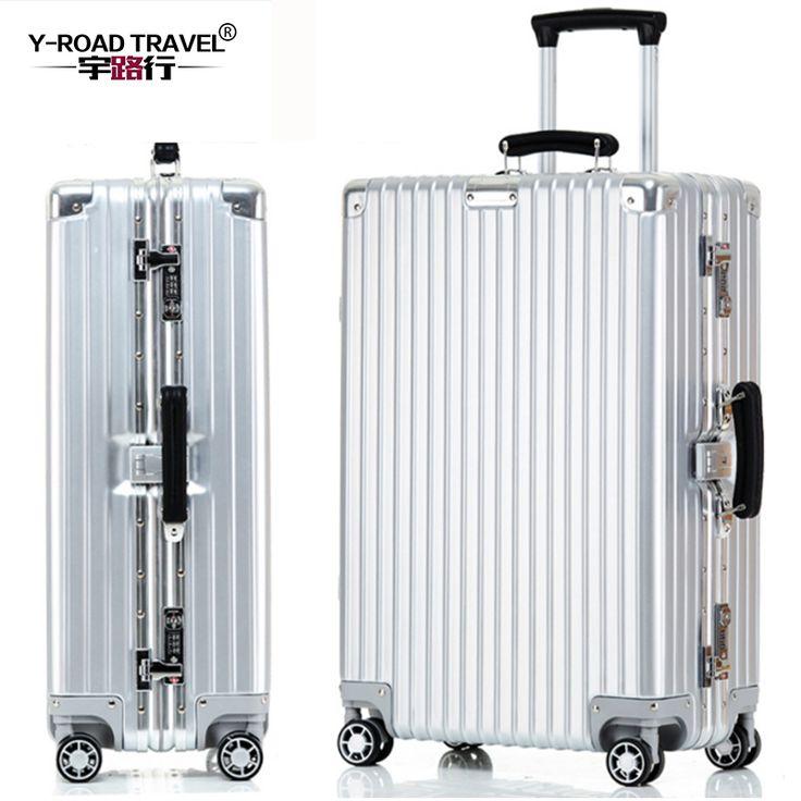 4 Größen Vintage Reise Trolley Gepäck Koffer PC Aluminiumrahmen Mit Tsa-schloss Hardside Rollgepäck Koffer Mit Rädern