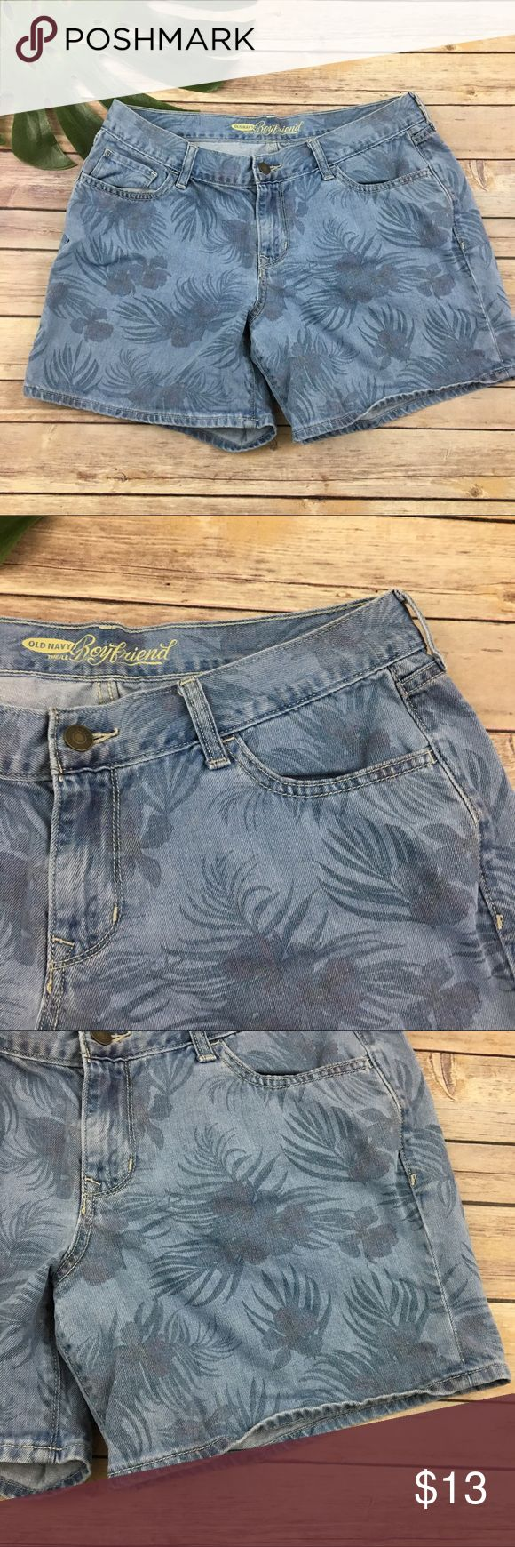 Old Navy boyfriend tropical print denim shorts Old Navy boyfriend tropical print jean shorts, size 10. They are free from any rips or stains. They measure about 35 inches around the waist and the inseam is about 6 inches. The rise is about 9 inches. Old Navy Shorts Jean Shorts