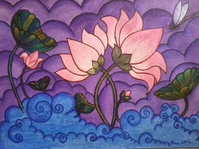 Kerala mural art style. Pink lotus pond.