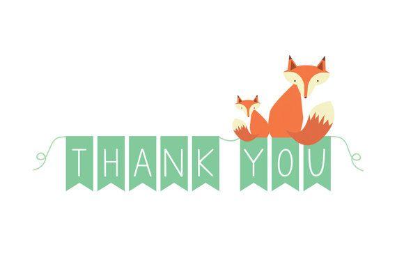 Fox Thank You Notes Printable Thank You Cards Fox Baby