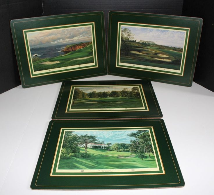 Set of 4 Linda Hartough US Open Golf Course Holes Placemats Cork Backed Sturdy #Unknown