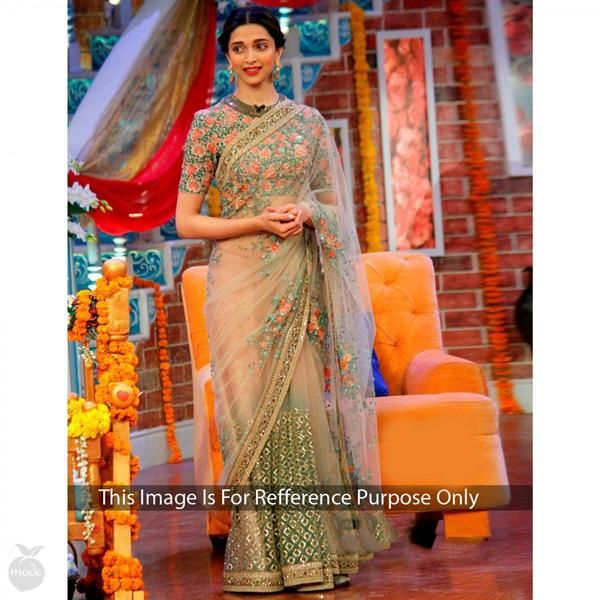 Designer Bollywood Sarees Deepika Padukone's Cream Color Floral Embroidery Work Bollywood Sarees