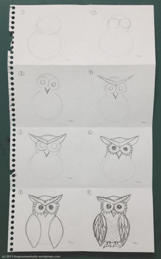 How to Draw an Owl Instructions - Created by Tanya Green