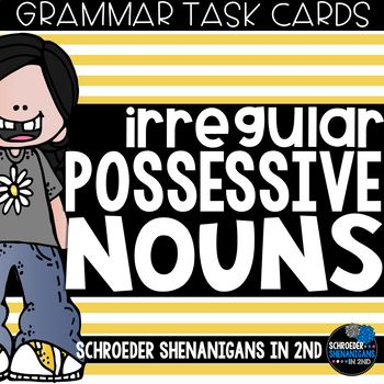 This set of grammar task cards is great practice for your students to show their basic understanding of irregular possessive nouns.This set is a part of my {GROWING} NOUNS TASK CARDS MEGA BUNDLEThis set includes:irregular possessive nouns anchor chartirregular possessive nouns mini anchor charts for student use20 task cards in color 20 task cards in black and whiteresponse sheetkeyStudents will write irregular possessive nouns in a phrase, complete the sentence with a irregular possessive…