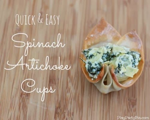 Quick and easy spinach artichoke cups made with #KraftEssentials from playpartypin.com #shop #cbias