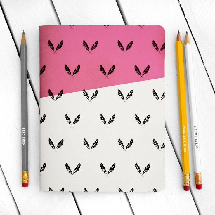 Feather Pattern Pink Notebook - Large - by The Paperbird Society.