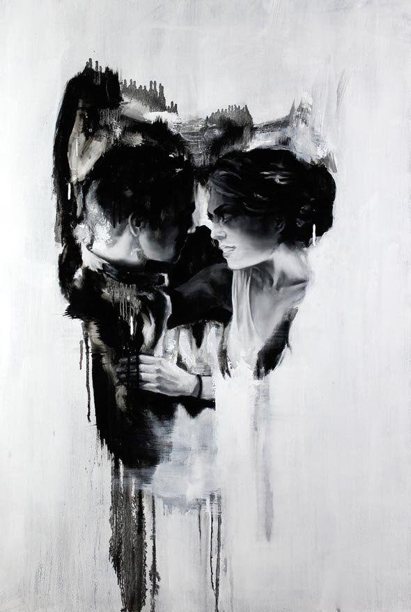Romantiek en de dood komen samen in de schilderijen van Tom French. Hij gebruikt alleen zwart en wit voor zijn macabere kunstwerken.Bron