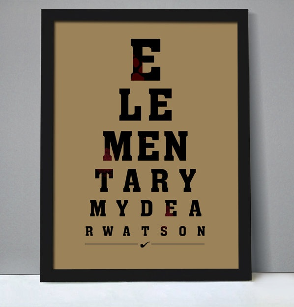 """Poster - """"Elementary, my dear Watson """", eye chart style, movie poster, typography, quote from movie """"The Adventures of Sherlock Holmes"""". $19.00, via Etsy."""