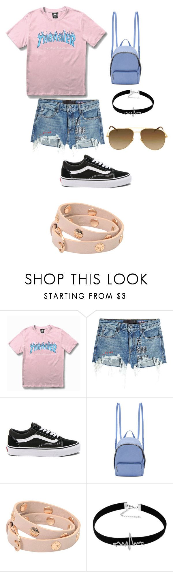 """""""skater girl outfit."""" by kmdudley ❤ liked on Polyvore featuring WithChic, T By Alexander Wang, Vans, STELLA McCARTNEY, Tory Burch and Yves Saint Laurent"""