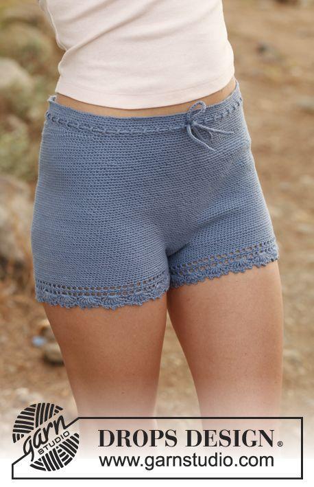 """Hæklede DROPS shorts i """"Safran"""". Str S - XXL ~ DROPS Design"""