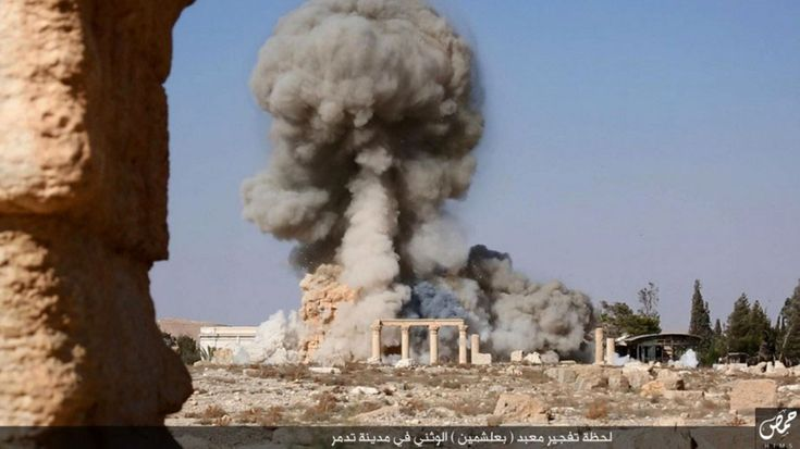 Picture of Isis allegedly blowing up part of Palmyra